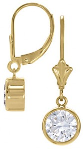 Diamond Dangle Earrings set in 14K Yellow Gold
