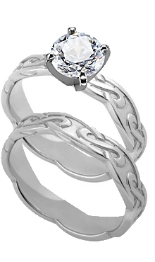 14K White Gold 4 Mm Celtic Engagement Ring And Matching Wedding Band