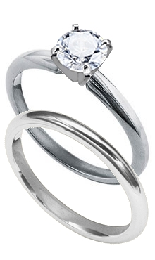 14K White Gold Solitaire Engagement Ring with Complimentary Wedding Band