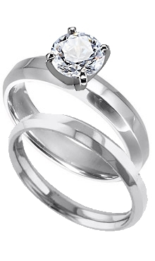 Platinum 4 mm Beveled Edge Solitaire Engagement Ring with