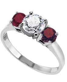 14K White Gold 2 mm Engagement Ring with Red Ruby Side Stones