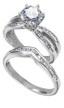 14k white gold womans engagement ring with channel set diamond side stones and matching v shaped band 42 ct tw - Engagement Rings And Wedding Bands