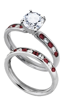 14k white gold 3 mm comfort fit engagement ring with channel set diamond and red ruby side stones with matching wedding band - Red Wedding Rings