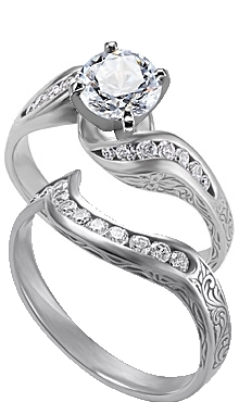 14k White Gold Engraved Diamond Twisty Ring With Matching Band Available In Carat Total Weights Of 50ct Or 75ct