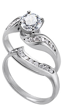 14K White Gold Diamond Twisty Ring With Matching Diamond Band Available  With Carat Total Weights Of .50ct Or .75ct.