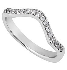 14K White Gold 293 Mm Curved Wedding Band With Bead Set Diamonds 25 Ct Tw
